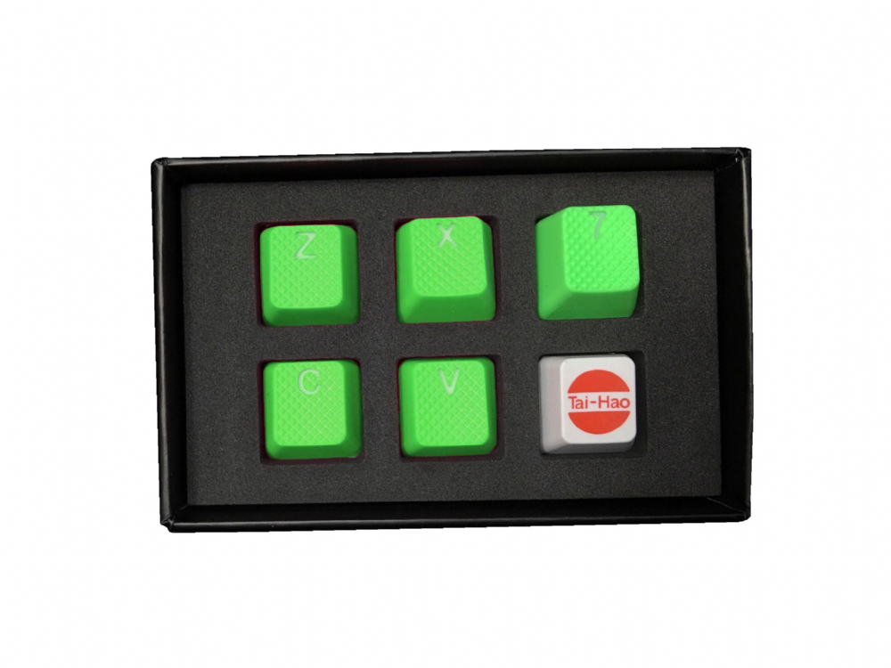Tai-Hao TPR Rubber Backlit Double Shot ZXCV Keys Neon Green
